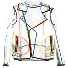 Wanda Nylon transparent zipped biker jacket ($750) ❤ liked on Polyvore featuring outerwear, jackets, tops, coats, nylon motorcycle jacket, long sleeve jacket, motorcycle jacket, moto jacket and zipper jacket