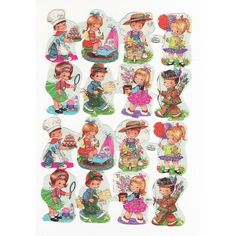 Does anyone remember these - We called them swaps in New Zealand in the 1970's.  I am sure I had a couple of these ones.  Vintage Kruger Die-cut German Scraps Boy's and Girls Playing Glitter (Vintage Kruger Die-cut Scrap Sheets ) at Whimzy Treasures found on Polyvore