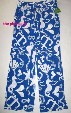LILLY PULITZER Pippa SM Schooner Blue Dock Hopper ANCHOR Nautical Pants NWT S #LillyPulitzer #CasualPants