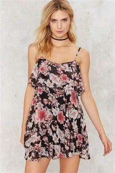 Rock this floral print dress with sandals all summer long and then pair it with booties and a leather jacket for fall.