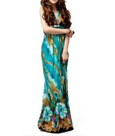 TopTie Floral Print Silky Long Maxi Dress, Green, One Size.