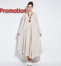 Anysize linen maxi dress long dress plus size dress por AnySize