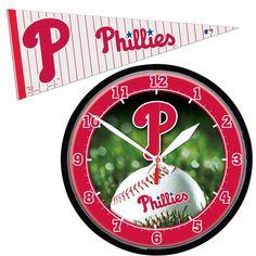 Philadelphia Phillies MLB Round Wall Clock and Pennant Gift Set