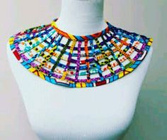 Mini Ankara Web Cape Necklace by AdinkraExpo on Etsyc African Print Dresses, African Print Fashion, African Fashion Dresses, African Dress, Textile Jewelry, Fabric Jewelry, Diy Jewelry, Jewellery, African Necklace