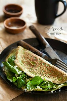 Thin Green Spinach and Herb Omelettes | Flourless Crêpes (Gluten Free and Grain Free)
