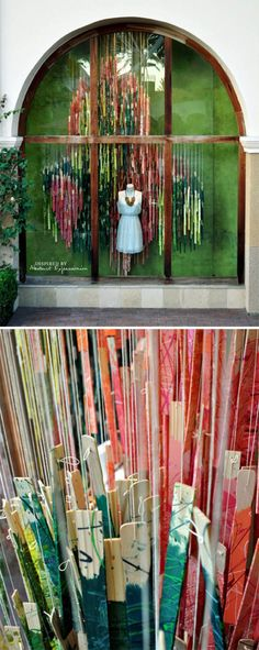 Fun DIY Paint Stick Crafts that top picture is screaming at me to be included in the design process next year.Anthropologie Spring 2012 window of tropical, splattered paint sticks Visual Display, Display Design, Store Design, Visual Merchandising, Paint Stick Crafts, Anthropologie Display, Vitrine Design, Store Window Displays, Spring Window Display