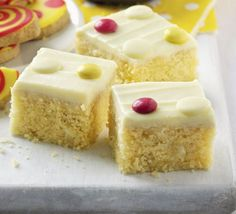 White chocolate spotty cake. Get creative with toppings to make a treat for family and friends - or add these bite-sized cakes to your next bake sale