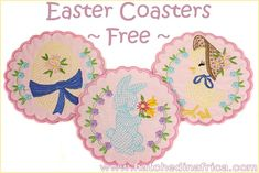 "FREE machine embroidery coasters - 3 4x4"" coasters for Easter from Hatched in Africa"
