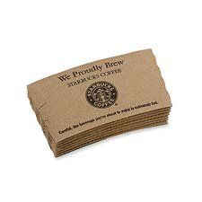Starbucks Coffee Products - Hot Cup Sleeves, 1200/CT, Brown Kraft - Sold as 1 CT - Sleeves are designed to fit sturdy 12 oz., 16 oz. and 20 oz. Starbucks hot beverage cups. Thick paper material insulates your beverage and protects hands from hot beverages so you don't have to use more than one cup. Insulated hot cup sleeve material contains 60 percent post-consumer fiber. by Star.... $158.99. Starbucks Coffee Products - Hot Cup Sleeves,  1200/CT,  Brown Kraft - Sold as 1...