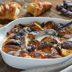Czekoladowy pudding z croissantów #lidl #przepis #czekolada #pudding