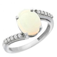 14K White Gold Natural Opal Ring Oval 10x8 mm Diamond Accent, sizes 5 - 10