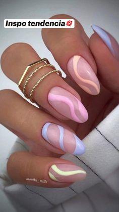 Acrylic Nails Almond Shape, Summer Acrylic Nails, Best Acrylic Nails, Almond Nails Pink, Pastel Pink Nails, Acrylic Nails Pastel, Short Almond Nails, Acrylic Nail Shapes, Yellow Nails