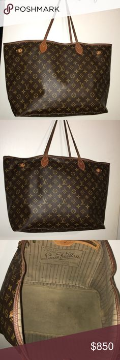 Authentic Louis Vuitton GM NeverFull Missing the side straps, I really don't have the time to get them replaced at the LV but they are about $150. Outside in really good condition except for two corners a scuffed/scratched please refer to pictures. I've pictured all the imperfections. Dimensions are approximately 21.5 inches X 21.5 inches . Please ask any questions before purchasing. I'd like to maintain my excellent selling status . Sorry no trades unless it's the LV eva clutch . 😊 thank…