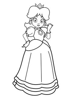 Princesse Supermario coloring page for girls, printable 2