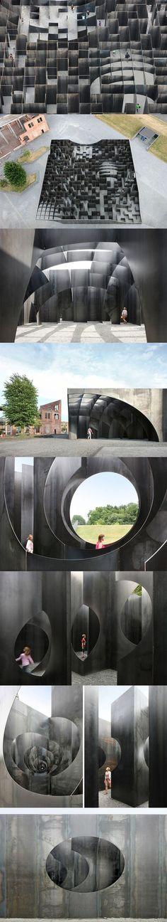 gijs van vaerenbergh builds sculptural steel labyrinth at former coal mine: