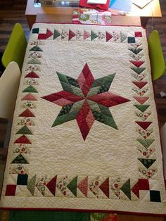 Christmas Patchwork, Christmas Quilting, Christmas Star, Christmas Runner, Christmas Sewing, Primitive Christmas, Quilted Table Toppers, Quilted Table Runners, Lone Star Quilt
