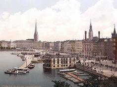 Jungfernsteig from the North, Hamburg, Germany sometime between 1890 and 1900
