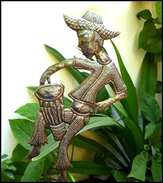 Metal Garden Plant Stake - Outdoor Garden Decor - Oil Drum Art - Haitian Drummer  -  Beach home decor - Tropical metal art - Caribbean decor - Tropical artwork - Plant stake, Plant stick - Haitian Metal Art, Recycled Steel Drum Art of Haiti,  Handcrafted Metal Art - Haitian Art – Haitian Steel Drum Metal Art - Garden Décor - Garden Art