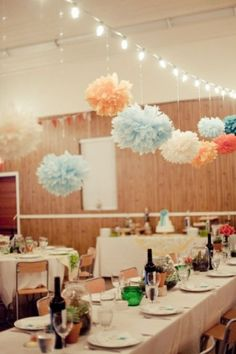 30 Hanging Paper Pompoms Decor Ideas For Your Wedding   Weddingomania