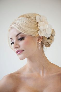 Bridal Flower Hair clips, Wedding Hair Accessory, Fascinator, Bridal Head Piece. $69.00, via Etsy.