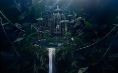 Download Fantasy Castle Strange Landscape Wallpaper