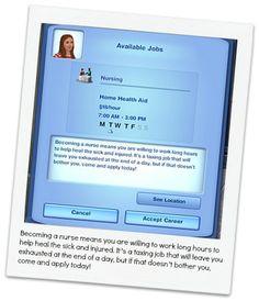 custom sims 3 careers on this site -- nursing career