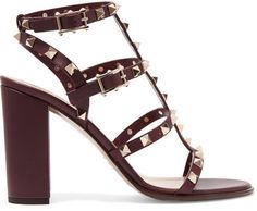 Valentino - The Rockstud Embellished Leather Sandals - Burgundy