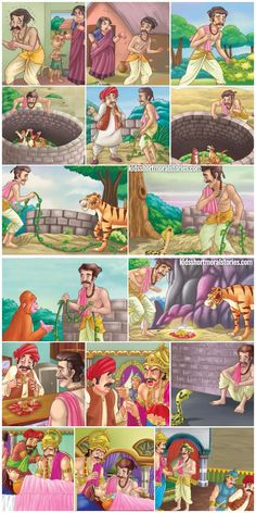 There once lived a very poor Brahmin named Yagya Dutt whose wife cursed her fortune every day, and would scream at her husband all the time. English Moral Stories, Short Moral Stories, English Stories For Kids, Moral Stories For Kids, Short Stories For Kids, English Story, English Vinglish, Picture Story For Kids, Storyboard Examples