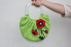 """Crochet bag """"Poppies"""" with two handles and decorated crochet red poppies / pastel green colors / handmade bag / handbag /OOAK (39.00 USD) by TaniaSh"""