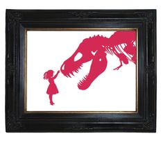 Alice and her T-Rex dinosaur skeleton pet make an unlikely pair. Nursery or childs room art! Pink Victorian Steampunk Silhouette art print on