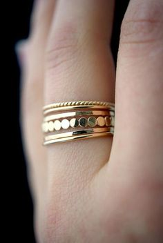 NEUE Medium Dicke Gold Perle Knuckle Ringset gold Stapelring
