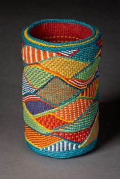 Hills and Dales II - Lois Russell, idea for knitting! Weaving Art, Tapestry Weaving, Loom Weaving, Rope Basket, Basket Weaving, Textiles, Contemporary Baskets, Linen Baskets, Yarn Crafts