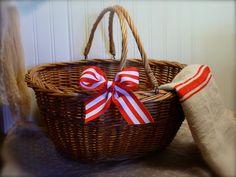 Vintage French Basket  Wicker  Handles  by EdenCoveTreasures, $38.00