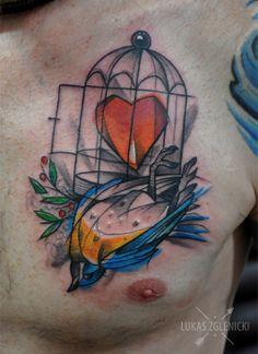 Lukas Zglenicki- Cykada Sopot #tattoo #birdtattoo #cage #bluebird