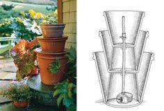 Simple DIY: A Terra-Cotta planter 3 tiered fountain.  Martha