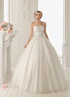 Fantastic Organza & Tulle & Satin Ball Gown Strapless Neckline Beaded Wedding Dress With Lace Appliques 269$