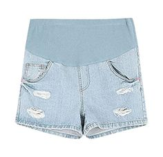 MIAMAMA Women's Maternity Denim Shorts Elastic Waist Casual Blue Summer Jeans, Small - Brought to you by Avarsha.com