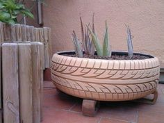 An original orchard with used tires in tyre inner tube diy with Tire Recycled Plant Nature