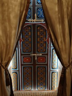 Hand painted doors to our Jauzi Suite at Riad Al-Bushra Decor, Painted Doors, Curtains, Hand Painted, Doors, Suite, Home Decor, Furniture