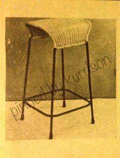 Featherston cane and iron rod stool