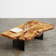 Spalted Maple Coffee table w/ black steel curved fin base #UrbanHardwoods #SalvagedWood