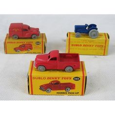 Dublo Dinky Toys Morris pick up number 065 together with a Massey Harris Ferguson tractor