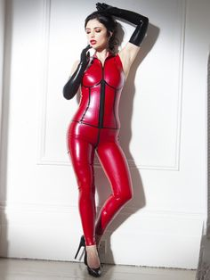 Rubber Sleeveless Firecracker Catsuit Red & Black by SkinTwoLatex