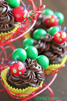 The Very Hungry Caterpillar cupcakes and cakes, inspired by the children's books. Easy, and no fondant or gumpaste required. For birthdays or any occasion.