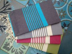 Beautiful Bright Fouta Hammam Towels - lots of colours in stock. Bohemian Beach, Boho, Ibiza, Towels, Gift Wrapping, Colours, Bright, Unique, Beautiful