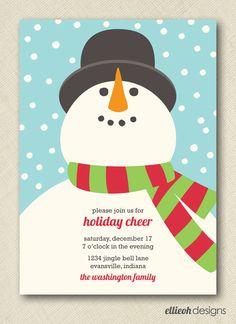 snowman holiday cheer party invite PRINTABLE 5x7 digital file DIY. $15.00, via Etsy.