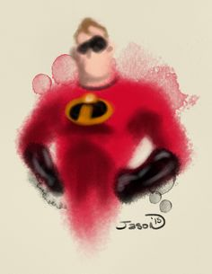 An abstract digital watercolor of Mr Incredible.