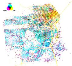 Also, Shawn Allen has done interesting investigations into the characteristics of various parts of San Francisco. His Trees, Cabs, and Crime visualization has always been a favorite of mine, beautifully showing the way these various sets of data overlap in our city. You can see the treeful and cabless Sunset vs the crimeful and cabful  Tenderloin, and can also see the traceries of all the major roads that the cabs drive along: