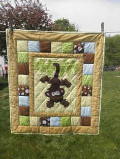 Just Hanging Around Monkey quilt (colors can be changed to fit girl, boy or neutral nursery). Great for jungle themed nurseries!