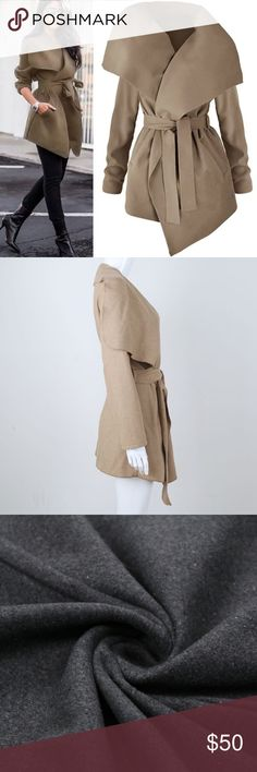 Beige coat Material wool blend Jackets & Coats Capes